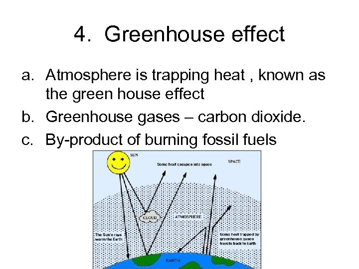 4. Greenhouse effect a. Atmosphere is trapping heat , known as the green house