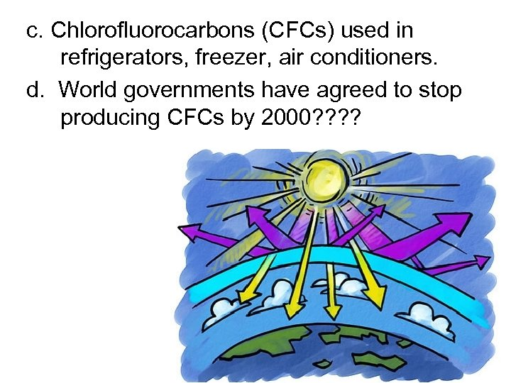 c. Chlorofluorocarbons (CFCs) used in refrigerators, freezer, air conditioners. d. World governments have agreed