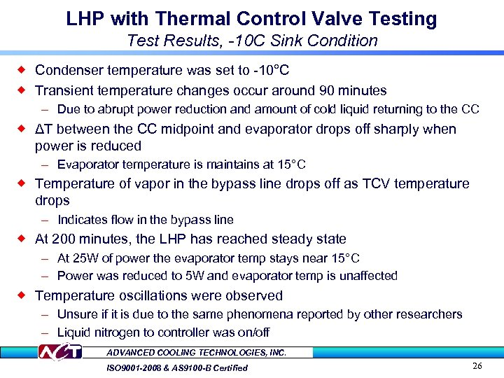 LHP with Thermal Control Valve Testing Test Results, -10 C Sink Condition ® Condenser
