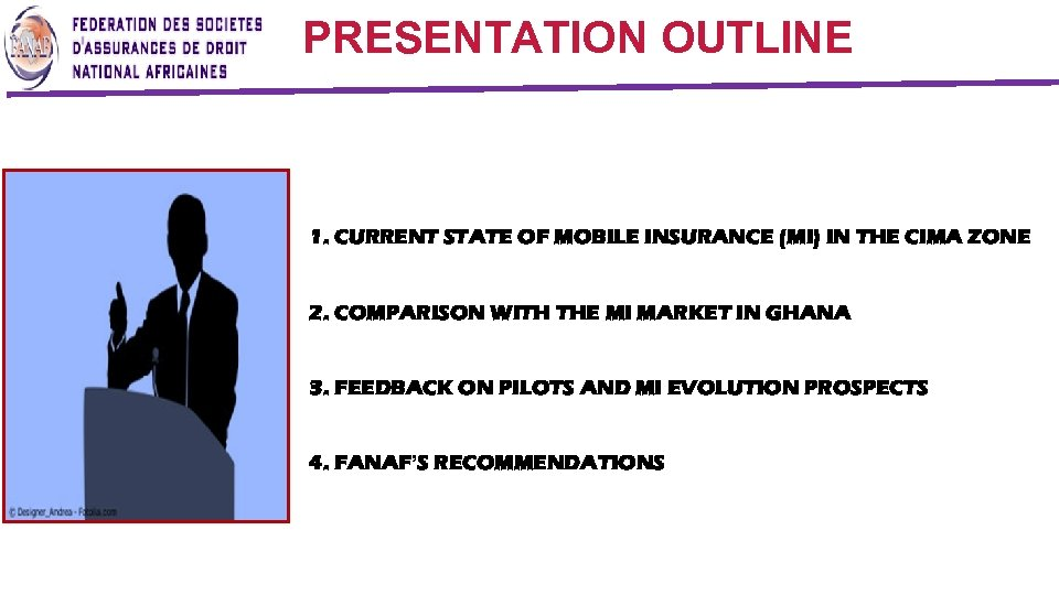 PRESENTATION OUTLINE 1. CURRENT STATE OF MOBILE INSURANCE (MI) IN THE CIMA ZONE 2.