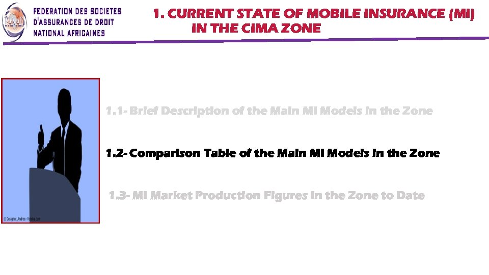 1. CURRENT STATE OF MOBILE INSURANCE (MI) IN THE CIMA ZONE 1. 1 -