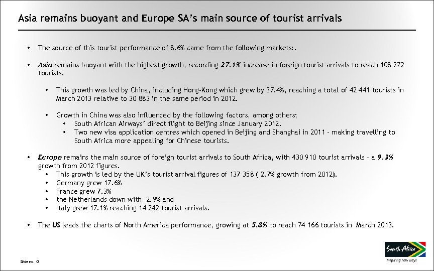 Asia remains buoyant and Europe SA's main source of tourist arrivals • The source