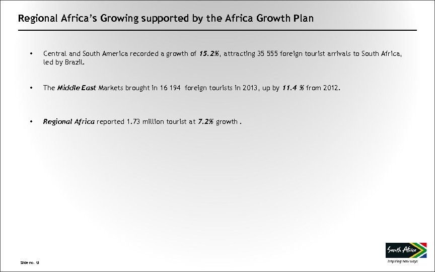 Regional Africa's Growing supported by the Africa Growth Plan • Central and South America