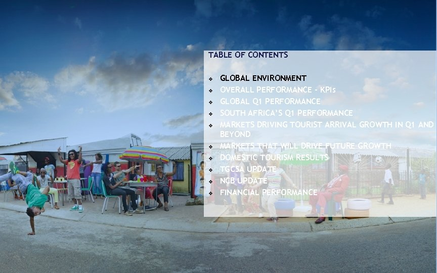 TABLE OF CONTENTS v v v v v GLOBAL ENVIRONMENT OVERALL PERFORMANCE - KPIs