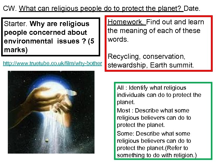 CW. What can religious people do to protect the planet? Date. Starter. Why are