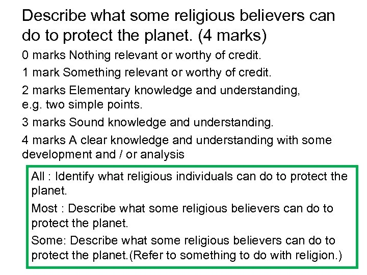 Describe what some religious believers can do to protect the planet. (4 marks) 0