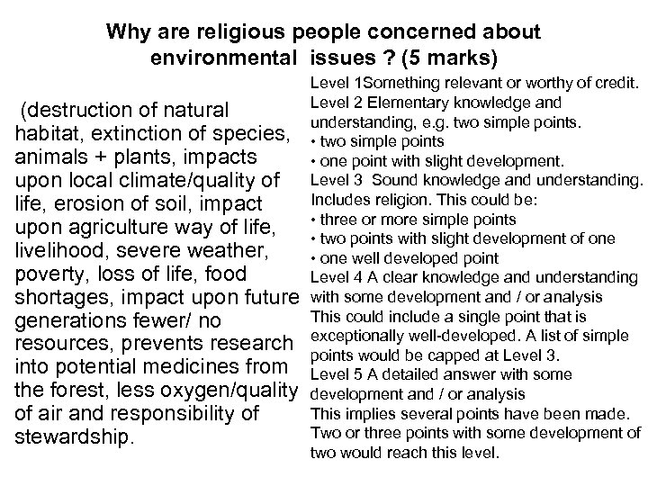 Why are religious people concerned about environmental issues ? (5 marks) Level 1 Something