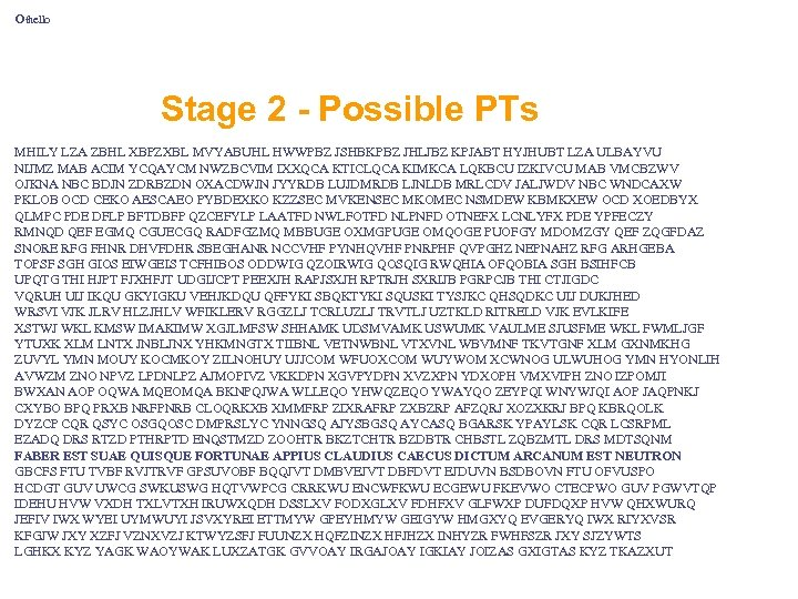 Othello Stage 2 - Possible PTs MHILY LZA ZBHL XBPZXBL MVYABUHL HWWPBZ JSHBKPBZ JHLJBZ