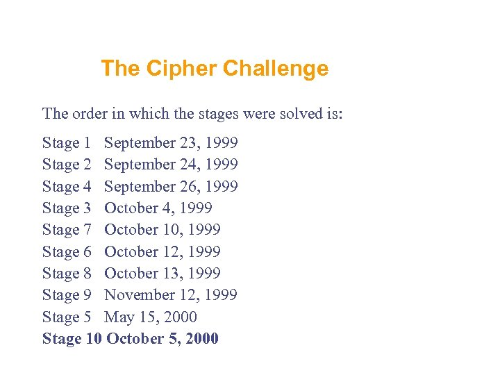The Cipher Challenge The order in which the stages were solved is: Stage 1