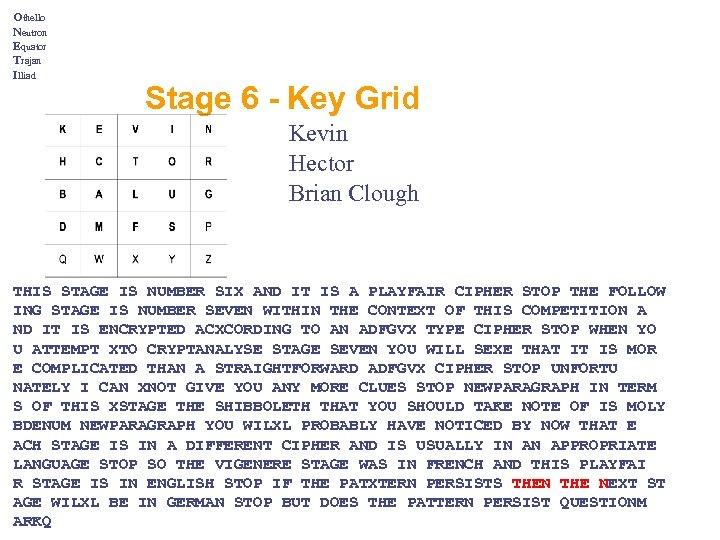 Othello Neutron Equator Trajan Illiad Stage 6 - Key Grid Kevin Hector Brian Clough