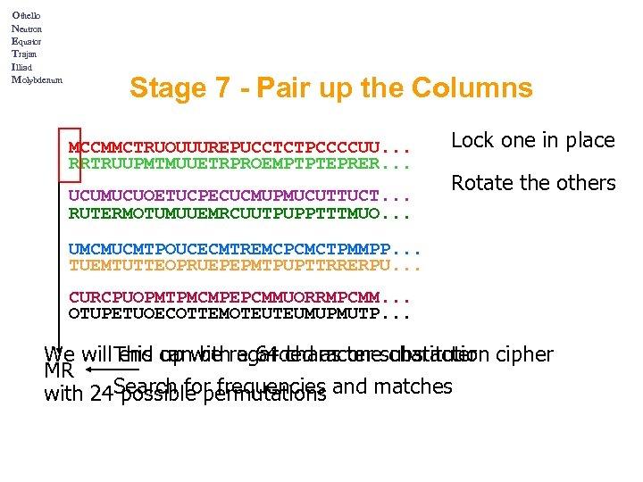 Othello Neutron Equator Trajan Illiad Molybdenum Stage 7 - Pair up the Columns MCCMMCTRUOUUUREPUCCTCTPCCCCUU.