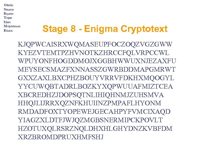 Othello Neutron Equator Trajan Illiad Molybdenum Edison Stage 8 - Enigma Cryptotext KJQPWCAISRXWQMASEUPFOCZOQZVGZGWW KYEZVTEMTPZHVNOTKZHRCCFQLVRPCCWL