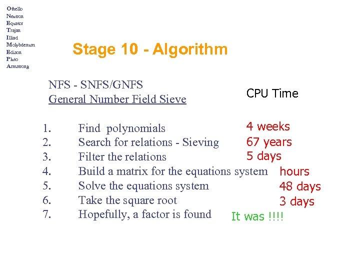 Othello Neutron Equator Trajan Illiad Molybdenum Edison Pluto Armstrong Stage 10 - Algorithm NFS