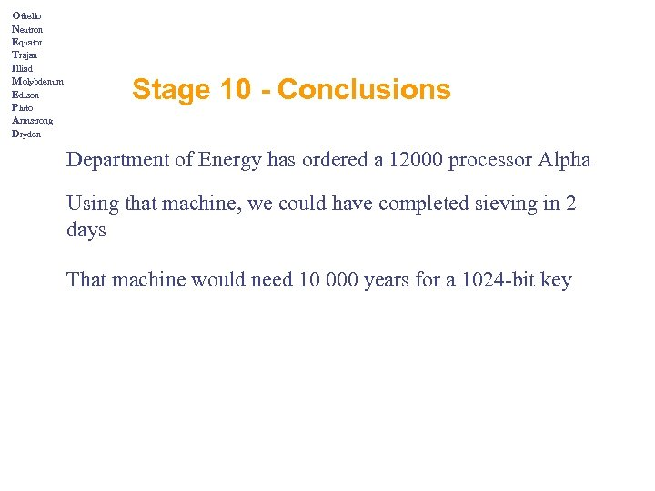Othello Neutron Equator Trajan Illiad Molybdenum Edison Pluto Armstrong Dryden Stage 10 - Conclusions