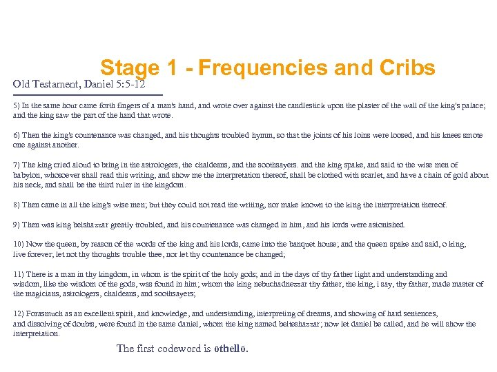 Stage 1 - Frequencies and Cribs Old Testament, Daniel 5: 5 -12 ================ 5)