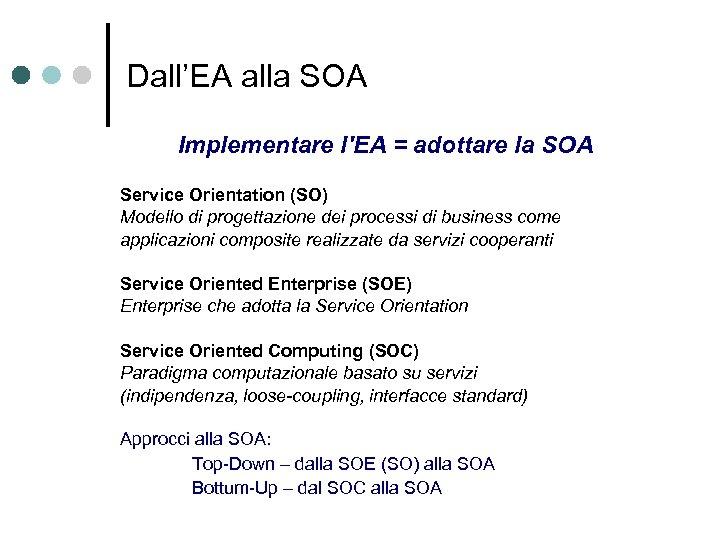 Dall'EA alla SOA Implementare l'EA = adottare la SOA Service Orientation (SO) Modello di