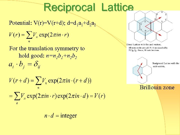 Reciprocal Lattice Potential: V(r)=V(r+d); d=d 1 a 1+d 2 a 2 For the translation