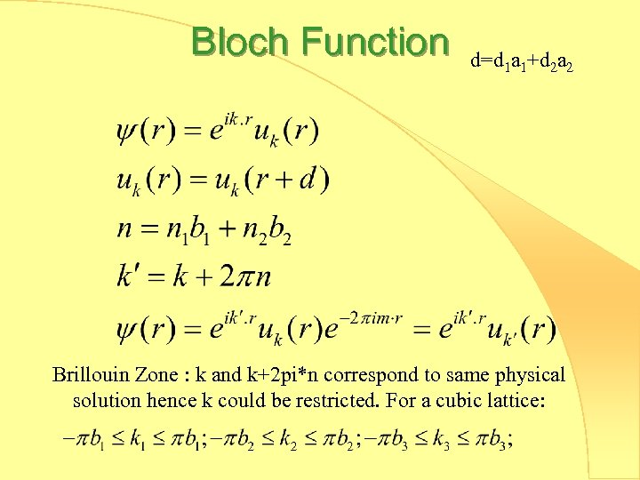 Bloch Function d=d 1 a 1+d 2 a 2 Brillouin Zone : k and