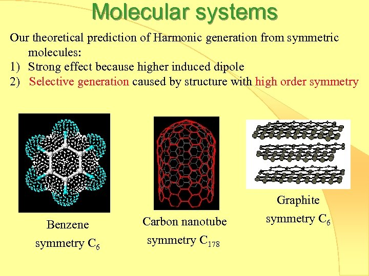 Molecular systems Our theoretical prediction of Harmonic generation from symmetric molecules: 1) Strong effect