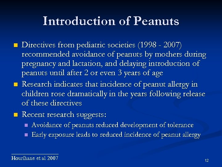 Introduction of Peanuts Directives from pediatric societies (1998 - 2007) recommended avoidance of peanuts