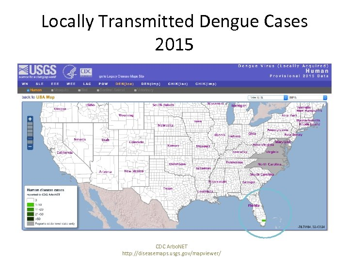 Locally Transmitted Dengue Cases 2015 CDC Arbo. NET http: //diseasemaps. usgs. gov/mapviewer/