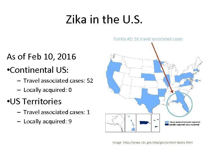 Zika in the U. S. Florida #1: 16 travel associated cases As of Feb