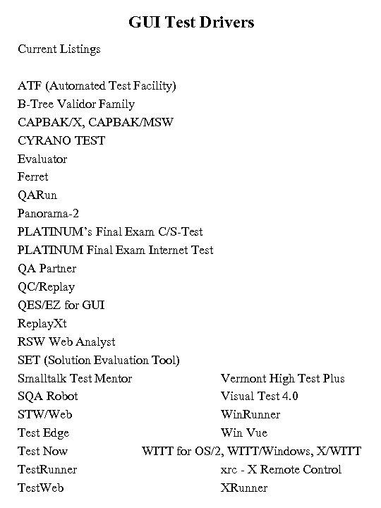 GUI Test Drivers Current Listings ATF (Automated Test Facility) B-Tree Validor Family CAPBAK/X, CAPBAK/MSW