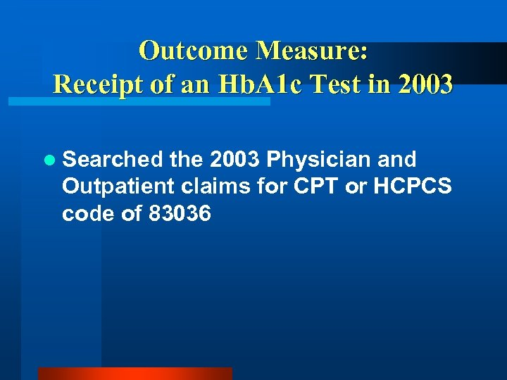 Outcome Measure: Receipt of an Hb. A 1 c Test in 2003 l Searched