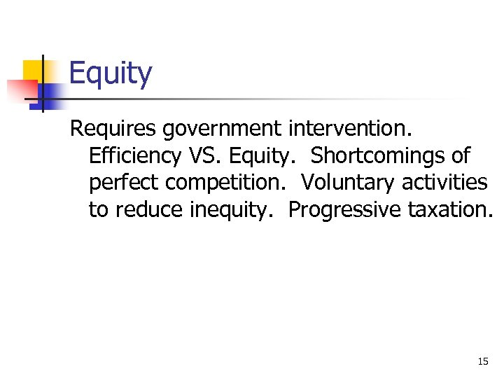Equity Requires government intervention. Efficiency VS. Equity. Shortcomings of perfect competition. Voluntary activities to