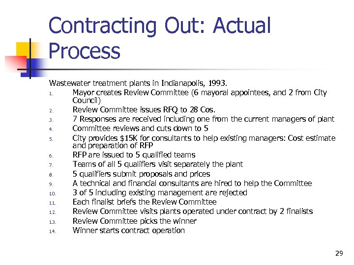 Contracting Out: Actual Process Wastewater treatment plants in Indianapolis, 1993. 1. Mayor creates Review