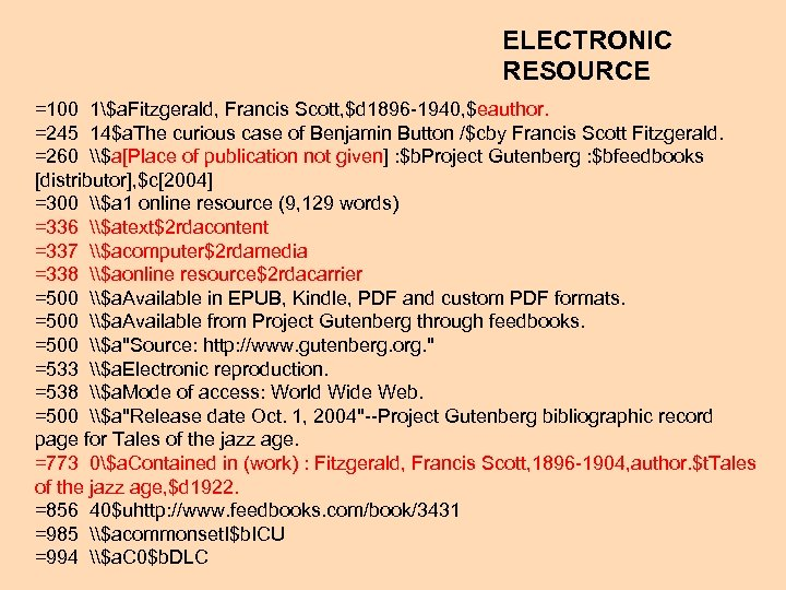 ELECTRONIC RESOURCE =100 1$a. Fitzgerald, Francis Scott, $d 1896 -1940, $eauthor. =245 14$a. The