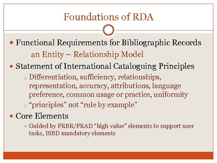 Foundations of RDA Functional Requirements for Bibliographic Records an Entity – Relationship Model Statement