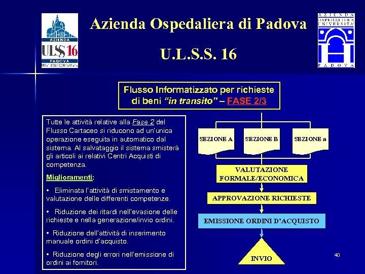 Azienda Ospedaliera di Padova U. L. S. S. 16 Flusso Informatizzato per richieste di