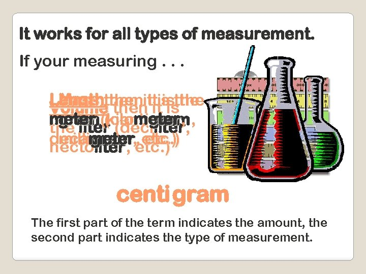It works for all types of measurement. If your measuring. . . Lengththen ititisthe