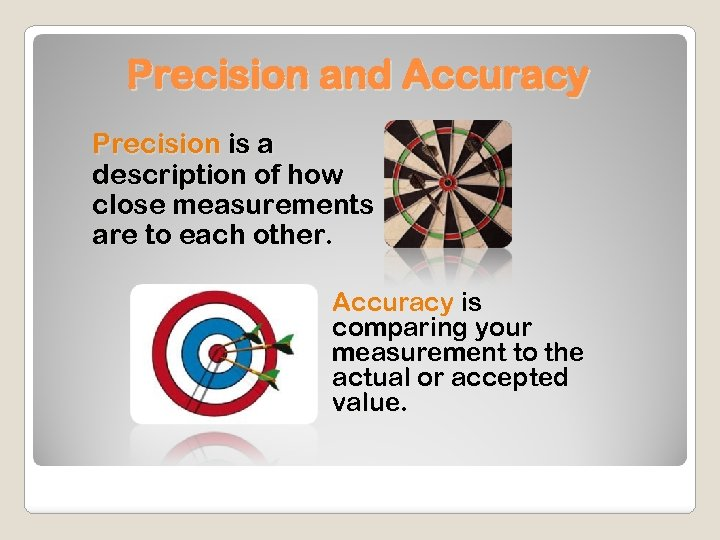 Precision and Accuracy Precision is a description of how close measurements are to each