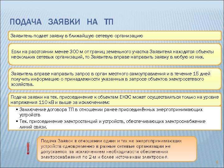 ПОДАЧА ЗАЯВКИ НА ТП Заявитель подает заявку в ближайшую сетевую организацию Если на расстоянии