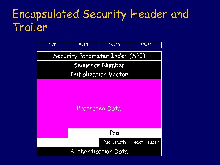Encapsulated Security Header and Trailer 0 -7 8 -15 16 -23 23 -31 Security