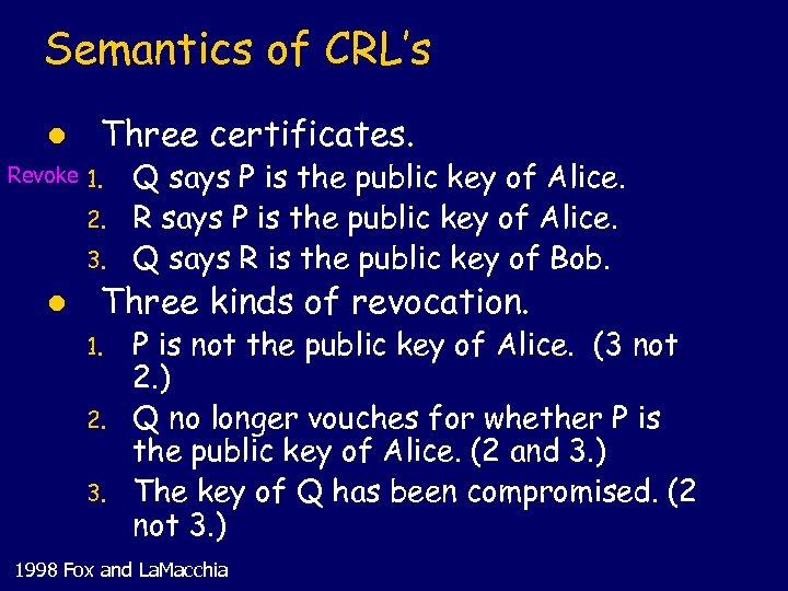 Semantics of CRL's l Three certificates. Revoke 1. 2. 3. l Q says P