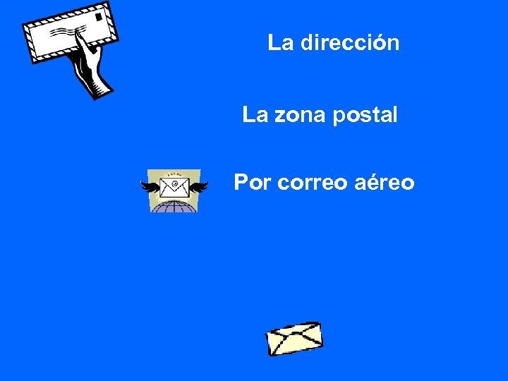 La dirección La zona postal Por correo aéreo