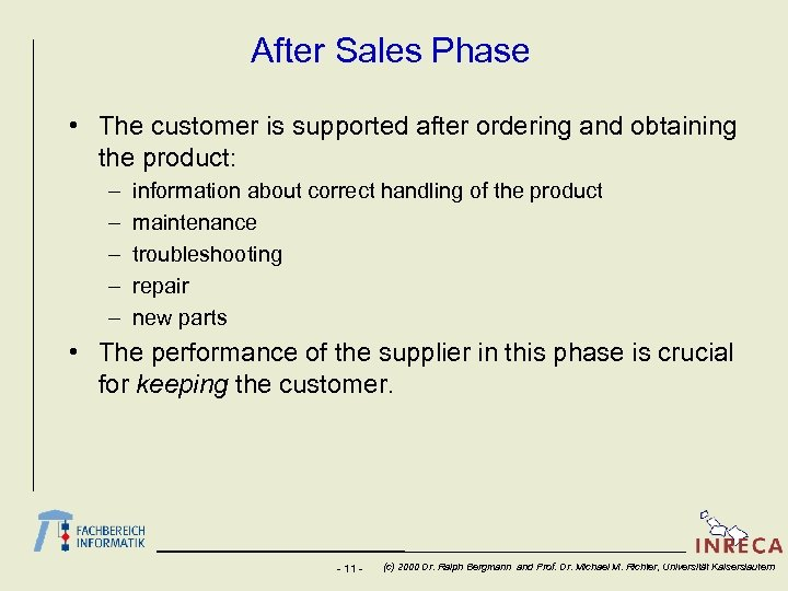 After Sales Phase • The customer is supported after ordering and obtaining the product: