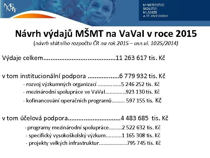 Návrh výdajů MŠMT na Va. I v roce 2015 (návrh státního rozpočtu ČR na