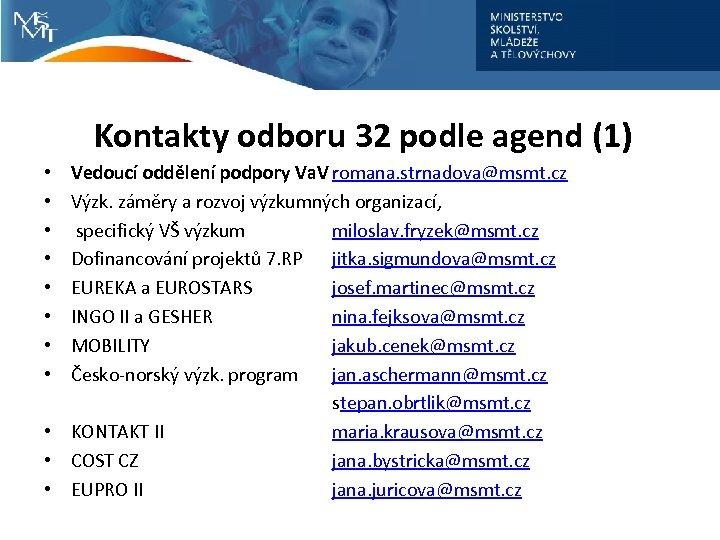 Kontakty odboru 32 podle agend (1) Vedoucí oddělení podpory Va. V romana. strnadova@msmt. cz