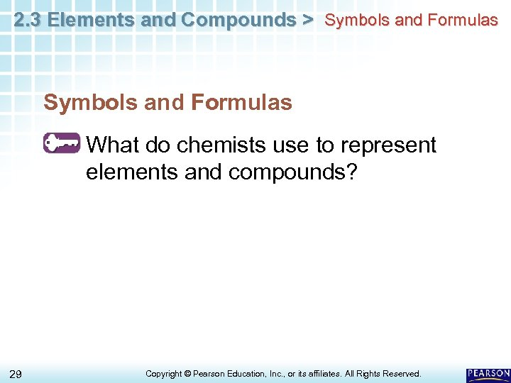 2. 3 Elements and Compounds > Symbols and Formulas What do chemists use to