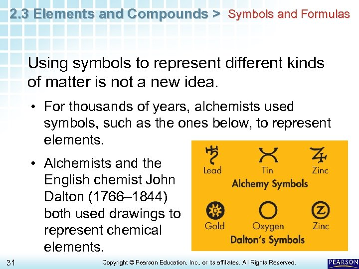 2. 3 Elements and Compounds > Symbols and Formulas Using symbols to represent different