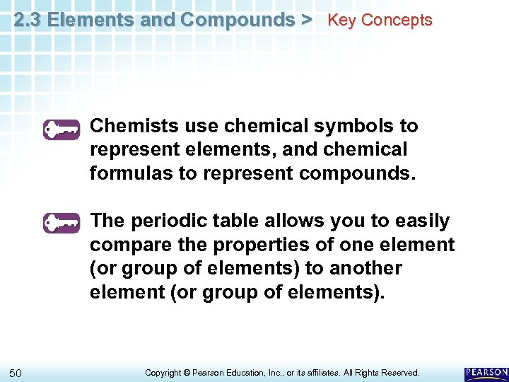 2. 3 Elements and Compounds > Key Concepts Chemists use chemical symbols to represent