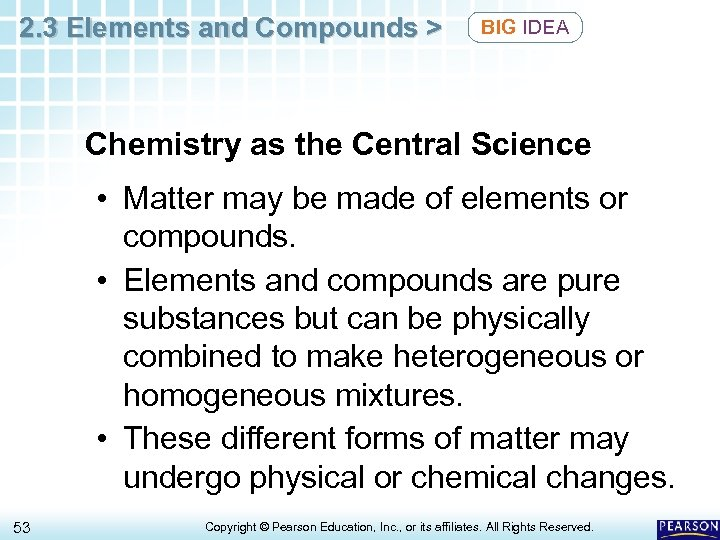 2. 3 Elements and Compounds > BIG IDEA Chemistry as the Central Science •