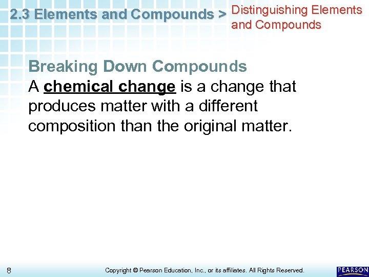 2. 3 Elements and Compounds > Distinguishing Elements and Compounds Breaking Down Compounds A