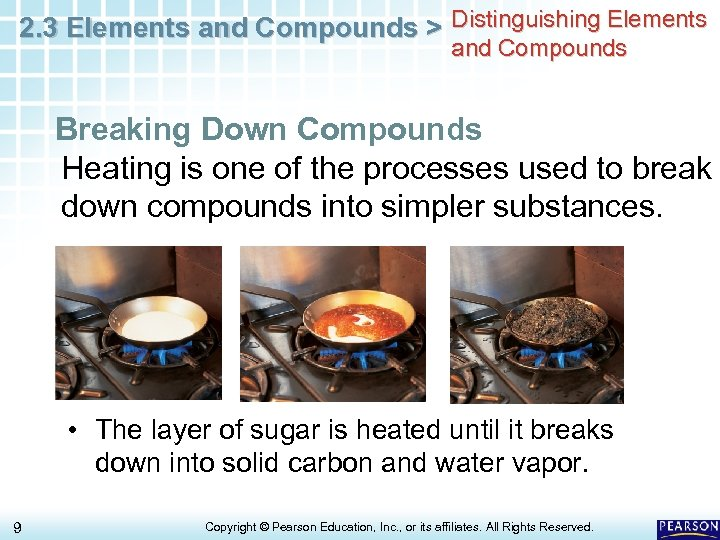 2. 3 Elements and Compounds > Distinguishing Elements and Compounds Breaking Down Compounds Heating