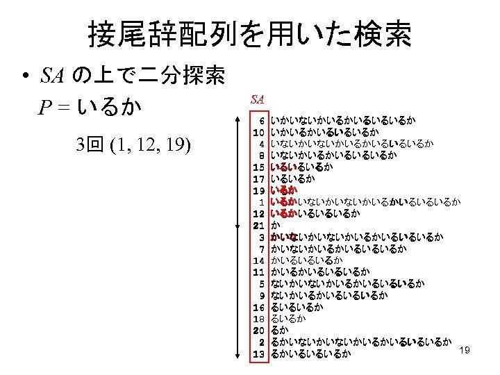 接尾辞配列を用いた検索 • SA の上で二分探索 P = いるか 3回 (1, 12, 19) SA 6 10