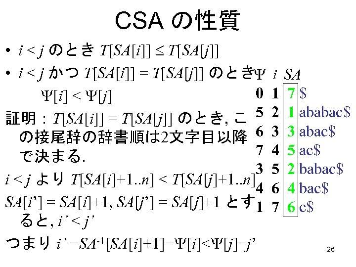CSA の性質 • i < j のとき T[SA[i]] T[SA[j]] • i < j かつ